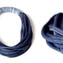 ONLYTWO  textil, sokszálas nyaklánc - denim, Ékszer, Nyaklánc, Csak két szín - sokszálas BAsic textilnyaklánc. Nincs benne fém. Bababarát. Karonülők által rángatha..., Meska