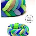 FISHBONE- textil karkötő, kék/zöld, Ékszer, Karkötő, Textilkarkötő élénk színekben, lágy vonalakkal.  Kb 17-18 cm-es csuklóra készült. Szélessége 2 cm.  ..., Meska