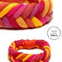 FISHBONE- textil karkötő, narancs/piros, Ékszer, Karkötő, Textilkarkötő élénk színekben, lágy vonalakkal.  Kb 17-18 cm-es csuklóra készült. Szélessége 2 cm.  ..., Meska
