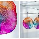 Plabodot Dandelion pillepalack-fülbevaló - narancs/pink/türkiz, Ékszer, Fülbevaló, Kb 6 cm átmérőjű (plusz nikkelmentes szerelék), kör alakú, pillesúlyú, PETpalack fülbevaló pontozott..., Meska