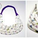 Sokszálas BASIC nyaklánc - lila/bézs/színes/mintás, Ékszer, Nyaklánc, Sokszálas nyaklánc kizárólag textilből készítve. Nem tartalmaz allergén anyagokat.  Hossza kb 65 cm...., Meska