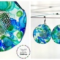Plabodot Dandelion pillepalack-fülbevaló - kék/zöld/türkiz, Ékszer, Fülbevaló, Kb 5,5cm átmérőjű (plusz nikkelmentes szerelék),  pillesúlyú, PETpalack fülbevaló pontozott mintázat..., Meska