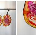 Plabodot Dandelion pillepalack-fülbevaló - narancs/pink, Ékszer, Fülbevaló, Kb 5cm átmérőjű (plusz nikkelmentes szerelék),  pillesúlyú, PETpalack fülbevaló pontozott mintázatta..., Meska