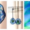 Plabodot Dandelion pillepalack-fülbevaló - kék/zöld/türkiz, Ékszer, Fülbevaló, Kb 3,5cm átmérőjű (plusz nikkelmentes szerelék, teljes hossza 10cm), kerek formájú, pillesúlyú, PETp..., Meska
