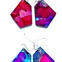 """Plabodot FLOW """"red/pink/seagreen"""" - S"""" fülbevaló, 925 ezüst, Ékszer, Fülbevaló, A kézzel készített sterling ezüst (925) szerelékkel felruházott, festett, geometrikus alakú fülbeval..., Meska"""