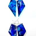 """Plabodot FLOW """"blue"""" fülbevaló, 925 ezüst, Ékszer, Fülbevaló, A kézzel készített sterling ezüst (925) szerelékkel felruházott, festett, geometrikus alakú fülbeval..., Meska"""