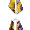 """Plabodot FLOW """"lila/okker"""" fülbevaló, 925 ezüst, Ékszer, Fülbevaló, A kézzel készített sterling ezüst (925) szerelékkel felruházott, festett, geometrikus alakú fülbeval..., Meska"""