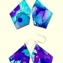 """Plabodot FLOW """"lila/türkiz1"""" - M"""" fülbevaló, 925 ezüst, Ékszer, Fülbevaló, A kézzel készített sterling ezüst (925) szerelékkel felruházott, festett, geometrikus alakú fülbeval..., Meska"""