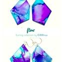 """Plabodot FLOW """"lila/türkiz2"""" - M"""" fülbevaló, 925 ezüst, Ékszer, Fülbevaló, A kézzel készített sterling ezüst (925) szerelékkel felruházott, festett, geometrikus alakú fülbeval..., Meska"""