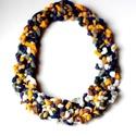POP nyaklánc - mustár/acélkék/fehér, Ékszer, Mindenmás, Nyaklánc, Egyedi textúrájú, saját fejlesztésű pop-textilből készült sokszálas, hátul megkötővel szabályozható ..., Meska