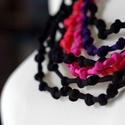 Sokszálas  BASIC nyaklánc - csomózott2 fekete/pink/lazac/lila, Ékszer, Nyaklánc, Sokszálas nyaklánc kizárólag textilből készítve. Nem tartalmaz allergén anyagokat.  Hossza állítható..., Meska