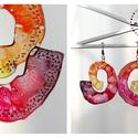 Plabodot Swirl fülbevaló - narancs/bordó, Ékszer, Fülbevaló, PET palackból kézzel készített és festett PLABODOT Swirl fülbevaló nikkelmentes szerelékkel. Átmérő:..., Meska