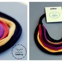 Sokszálas BASIC nyaklánc - fekete/lila/narancs/napsárga, Ékszer, Nyaklánc, Sokszálas nyaklánc kizárólag textilből készítve. Nem tartalmaz allergén anyagokat.  Hossza kb 65 cm,..., Meska