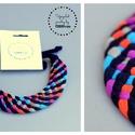 Fonott TRIBEQUA nyaklánc - fekete/lila/narancs/kék, Ékszer, Nyaklánc, Sokszálas fonott nyaklánc kizárólag textilből készítve. Nem tartalmaz allergén anyagokat.  Hossza kb..., Meska