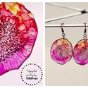 Plabodot Dandelion fülbevaló - narancs/piros/pink/lila, PET palackból kézzel készített és festett PLA...