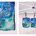 Plabodot téglalap fülbevaló - kék/vízzöld, PET palackból kézzel készített és festett PLA...