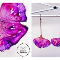 Plabodot Ginkgo fülbevaló - lila/pink/narancs, PET palackból kézzel készített és festett PLA...
