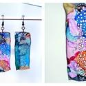 Plabodot hosszúkás téglalap fülbevaló - színes, PET palackból kézzel készített és festett PLA...