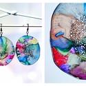 Plabodot Dandelion fülbevaló - színes, PET palackból kézzel készített és festett PLA...