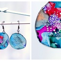 Plabodot Dandelion fülbevaló - színes kicsi, PET palackból kézzel készített és festett PLA...