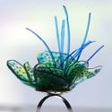 Plabodot RINGRING gyűrű - kócos kék/zöld/türkiz, Kb 4 cm átmérőjű, virág alakú, kócos, pille...