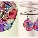 Plabodot Dandelion fülbevaló - lila/kék/rózsaszín/piros, Ékszer, Fülbevaló, PET palackból kézzel készített és festett PLABODOT Dandelion fülbevaló nikkelmentes szerelékkel. Átm..., Meska
