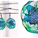 Plabodot Dandelion fülbevaló - kék/zöld, Ékszer, Fülbevaló, PET palackból kézzel készített és festett PLABODOT Dandelion fülbevaló nikkelmentes szerelékkel. Átm..., Meska