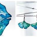 Plabodot Ginkgo fülbevaló - kék/zöld, Ékszer, Fülbevaló, PET palackból kézzel készített és festett PLABODOT Dandelion fülbevaló nikkelmentes szerelékkel. Kb ..., Meska