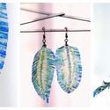 Plabodot Tollafülbe fülbevaló - kék/zöld, Ékszer, Fülbevaló, PET palackból kézzel készített és festett PLABODOT Dandelion fülbevaló nikkelmentes szerelékkel. Kb ..., Meska