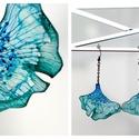 Plabodot Ginkgo fülbevaló - vízzöld/kék, hosszú, PET palackból kézzel készített és festett PLA...