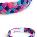 TRIBEQUA - textil karkötő, pink-kék-lazac, Ékszer, Karkötő, Textilkarkötő puha, fonott kivitelben.  Hossza kb 17-19cm. Szélessége kb 1,3 cm.  Kérhető más színko..., Meska