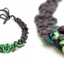 POP nyaklánc - zöld-szürke, Ékszer, Mindenmás, Nyaklánc, Egyedi textúrájú, saját fejlesztésű pop-textilből készült sokszálas, hátul megkötővel szabályozható ..., Meska