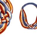 Kelta csomós nyaklánc - rozsda/bézs/acélkék, Ékszer, Nyaklánc, Mutatós, kelta csomós nyaklánc fix megkötővel. A csomó kb 5*4cm, a nyaklánc hossza körbe kb 65cm.  K..., Meska