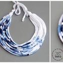 Sokszálas  BASIC nyaklánc - kék/fehér, Ékszer, Nyaklánc, Sokszálas nyaklánc kizárólag textilből készítve. Nem tartalmaz allergén anyagokat. Egyetlen darab.  ..., Meska