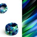 Tribequa textil gyűrű - 16mm, kék-zöld, Ékszer, Gyűrű, Textilgyűrű puha, rugalmas, fonott kivitelben.  Belső átmérője kb 16mm. Szélessége: 15mm.  Kérhető m..., Meska