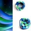 Tribequa textil gyűrű - 14mm, kék-zöld, Ékszer, Gyűrű, Textilgyűrű puha, rugalmas, fonott kivitelben.  Belső átmérője kb 14mm. Szélessége: 15mm.  Kérhető m..., Meska