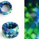 Tribequa textil gyűrű - 19mm, kék-zöld, Ékszer, Gyűrű, Textilgyűrű puha, rugalmas, fonott kivitelben.  Belső átmérője kb 19mm. Szélessége: 15mm.  Kérhető m..., Meska