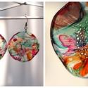 Plabodot Dandelion fülbevaló - tarka 1., Ékszer, Fülbevaló, PET palackból kézzel készített és festett PLABODOT Dandelion fülbevaló nikkelmentes szerelékkel. Átm..., Meska