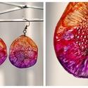 Plabodot Dandelion fülbevaló - narancs/piros/pink/lila, Ékszer, Fülbevaló, PET palackból kézzel készített és festett PLABODOT Dandelion fülbevaló nikkelmentes szerelékkel. Átm..., Meska