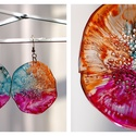 Plabodot Dandelion fülbevaló - narancs/pink/türkiz, Ékszer, Fülbevaló, PET palackból kézzel készített és festett PLABODOT Dandelion fülbevaló nikkelmentes szerelékkel. Átm..., Meska