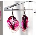 Plabodot Origami fülbevaló - pink/fekete, Ékszer, Fülbevaló, PET palackból kézzel készített, hajtogatott és festett PLABODOT fülbevaló nikkelmentes szerelékkel. ..., Meska