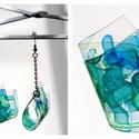 Plabodot Folded fülbevaló - kék/zöld, Ékszer, Fülbevaló, PET palackból kézzel készített, hajtott és festett PLABODOT fülbevaló nikkelmentes szerelékkel. Kb 4..., Meska
