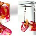 Plabodot Folded fülbevaló - pink/narancs/piros, Ékszer, Fülbevaló, PET palackból kézzel készített, hajtott és festett PLABODOT fülbevaló nikkelmentes szerelékkel. Kb 4..., Meska