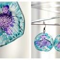 Plabodot Dandelion fülbevaló - vízzöld/lila, Ékszer, Fülbevaló, PET palackból kézzel készített és festett PLABODOT Dandelion fülbevaló nikkelmentes szerelékkel. Átm..., Meska