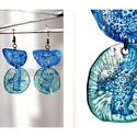 Plabodot fura fülbevaló - kék/zöld, Ékszer, Fülbevaló, PET palackból kézzel készített és festett PLABODOT Dandelion fülbevaló nikkelmentes szerelékkel. Mér..., Meska