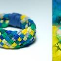 TRIBEQUA - textil karkötő, kék/zöld/sárga, Ékszer, Karkötő, Textilkarkötő puha, fonott kivitelben.  Hossza kb 18-19cm. Szélessége kb 2,5 cm.  Kérhető más színko..., Meska