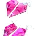 Plabodot FLOW pink/piros. csúcsos fülbevaló, Ékszer, Fülbevaló, A kézzel készített, nikkelmentes szerelékkel felruházott, festett, geometrikus alakú fülbevaló a Flo..., Meska