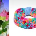 TRIBEQUA - textil karkötő, narancs-piros-kék-zöld, Ékszer, Karkötő, Textilkarkötő puha, fonott kivitelben.  Hossza kb 16-18cm. Szélessége kb 2,5 cm.  Kérhető más színko..., Meska