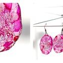 Plabodot ovális fülbevaló - pink, Ékszer, Fülbevaló, PET palackból kézzel készített és festett PLABODOT ovális fülbevaló nikkelmentes szerelékkel. Méret:..., Meska
