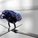 Plabodot RINGRING gyűrű - éjkék/fekete, Ékszer, Gyűrű, Kb 4 cm átmérőjű, virág alakú, pillesúlyú, PETpalack-szirmokból készült gyűrű mintázva, kézzel készí..., Meska